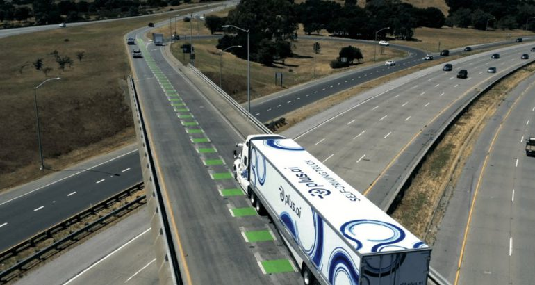 Self driving truck for a cost-to-coast commercial freight trip for food