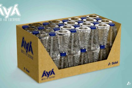Eco packaging concept AYA: still water from rPET primary to tertiary