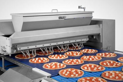 Topping line for pizza frozen, automatic for high capacity