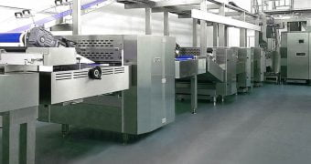 Production plant of crackers: sheeting, oven, cooling