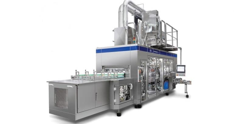 Water saving filling machines for small and medium size carton packs